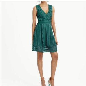 J.Crew fit flare green emerald dress holiday 2 XS